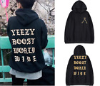 YEEZY BOOST WORLDWIDE HOODED TOP PRINT KANYE WEST ON HOODIE OVERSIZED BLACK