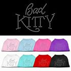 Bad Kitty Rhinestone Studded Cotton Dog T-Shirt Tee Clothes for Dogs Puppy