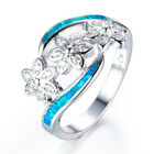 UK Fashion Womens 925 Silver 3 Flowers White Topaz Ring Set Wedding Jewelry Ring