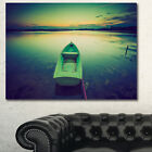 Designart 'Boat at Sunset in Vintage Lake' Boat Canvas Artwork