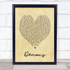 Demons Vintage Heart Song Lyric Quote Print
