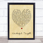 Wonderful Tonight Vintage Heart Song Lyric Quote Print