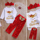 "Внешний вид - Cute Newborn Baby Girl""My 1st Christmas""Romper Sequin Pants 3Pcs Outfits Clothes"