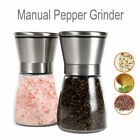 2X Salt and Pepper Grinders Shakers Mill Glass Stainless Steel Modern Spices 8AD