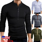 US Mens Slim Fit V Neck Long Sleeve Muscle Tee T-shirt Casual Tops Henley Shirts image