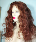 Full Lace Wig Glueless Remi Remy Indian Human Premium Hair Auburn Red Wavy Long