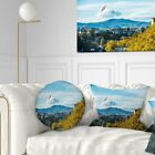 Designart 'Old Town and Hills in Tbilisi' Landscape Printed Throw Pillow