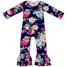 US Newborn Baby Girl Long Sleeve Flower Ruffle Romper Jumpsuit Outfits Clothes