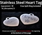 STAINLESS STEEL HEART Tag w/ FREE Personalised Engraving Dog Cat Collar ID Tags