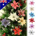 "10pcs 6"" Glitter Wedding Party Christmas Flowers Party Home Xmas Tree Decoration"
