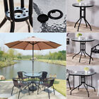 Square Round Coffee Table Tempered Glass w/ without Parasol Holder Living Garden