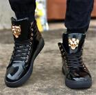 Mens Hip Hop Lace Up Fashion Shiny Board Shoes Sneakers High Top Ankle Boots