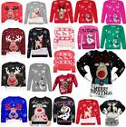 Kids Unisex Rudolph Reindeer Printed Soft Stretchy Christmas Xmas Midi Jumper