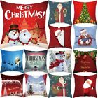 Square Christmas Pillow Case Santa Sofa Waist Throw Cushion Cover Home Bed Decor image