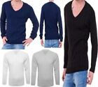 Mens V Neck Knitted Cricket Jumper Adult Long Sleeve Plain Chunky Cable Sweater