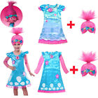 Kid Trolls Costume Little Girl Princess Poppy Cosplay Outfit Dress Prop + Wig US image