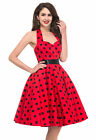 Kleid Pin Up Punkt Retro Hausfrau Vintage Party Swing Polka 50s Jahre 60s Style