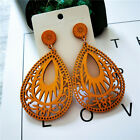 Women Wooden Earrings Water Drop Pattern Dangle Ear Stud Party Vintage Jewelry B