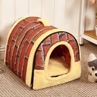 Dual Pet Dog Cat Bed House Portable Puppy Dog Cave Nest Pad Cozy Cushion
