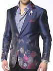 Angelino Lilac Men's Two Button Modern Fit Floral Blazer Sport Coat Purple Navy