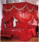 Red Princess 4 Corner Post Bed Curtain Canopy Mosquito Netting King Queen Size image