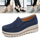 Women Suede Leather Slip-on Wedge Loafers Platform Moccasin Walking Shoes 5-7.5