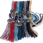 New Women's Crystal Beaded Tassel Necklace Long Sweater Chain Jewelry Gifts