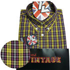 Warrior UK England Button Down Shirt DOUBLE BARREL Slim-Fit Skinhead Mod Retro