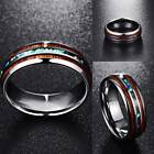 8mm Hawaiian Koa Wood and Abalone Shell Tungsten Carbide Rings for Men Jewelry image