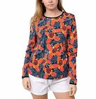 Hang Ten Ladies' Rash Guard Top Red Floral --UPF 50+