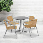 """27.5"""" Round Aluminum Garden Patio Table Set With 4 Rattan Chairs"""