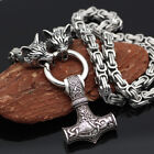 Norse Viking Thor hammer Mjolni Pendant Stainless Steel Wolf Chain Necklace Gift photo