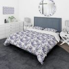 Designart - Floral Pattern in Purples and Blues - Traditional Duvet Cover Set image