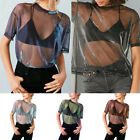 Sexy Women Long Sleeve See Through Tulle Crop Top Glitter Shimmer Shirt Blouse
