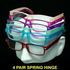 4 PAIR READING GLASSES SPRING HINGE LOT PACK FRAME LENS POWER MEN WOMEN UNISEX