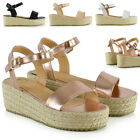 New Womens Strappy Wedge Sandals Espadrilles Ladies Flat Platform Shoes