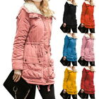 Women Ladies Long Winter Coat Faux Fur Slim Fit Down Jacket Casual Outwear Tops