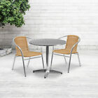 """31.5"""" Round Aluminum Garden Patio Table Set With 2 Rattan Chairs"""