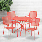 """Commercial Grade 35.25"""" Round Metal Garden Patio Table Set, 4 Square Back Chairs"""