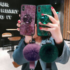 Bling Diamond with Holder Plush Ball Case Cover for iPhone 11 Pro Xs Max Xr 8 7 $8.53 USD on eBay