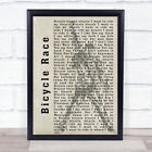 Bicycle Race Silhouette Song Lyric Quote Print