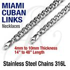 "Stainless Steel 316L Miami Cuban Curb Link Chain Necklace 14-48"" Silver tone"