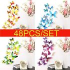 48 Pack Diy 3d Butterfly Wall Stickers Wedding Birthday Gift Decal Room Decor Uk