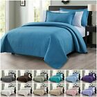 Chezmoi Collection Edan 3-Piece Solid Checkered Quilted Bedspread Coverlet Set image