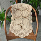Beige Cotton Handmade Crochet Lace Table Runner Floral Pattern Table Decoration