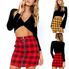 Women High Waist Zipper Short Mini Skirt Girls Casual  A-Line Pencil Plaid Skirt