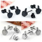 Stainless Steel Middle Finger Earring Ear Stud Punk Body Piercing Jewelry 2Color