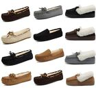 Ladies Womens Moccasin Slippers Fur Leather Suede Casual Winter Warm Shoes New