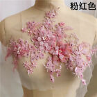 Embroidery 3D Flower Bridal Lace Applique Pearl Beaded DIY Wedding Dress #US RIV