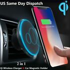 Qi Wireless Car Charger Magnetic Mount Holder For iPhone XS MAX XR Samsung S10 +